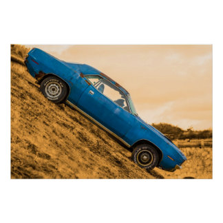 Old Blue Plymouth Barracuda Poster