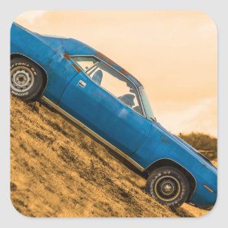 Old Blue Plymouth Barracuda Square Stickers
