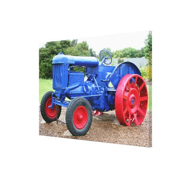 franwestphotography Old Blue & Red Tractor Canvas Print
