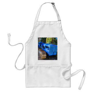 Old blue tractor and crawler adult apron