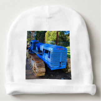 Old blue tractor and crawler baby beanie