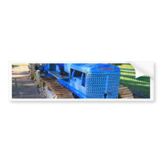Old blue tractor and crawler bumper sticker