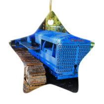 Old blue tractor and crawler ceramic ornament