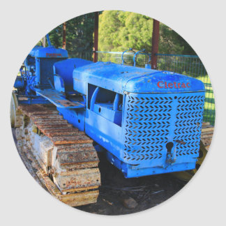Old blue tractor and crawler classic round sticker