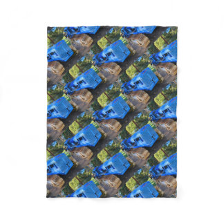 Old blue tractor and crawler fleece blanket