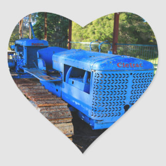 Old blue tractor and crawler heart sticker