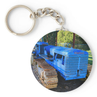 Old blue tractor and crawler keychain