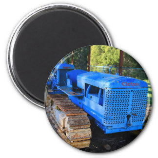 Old blue tractor and crawler magnet