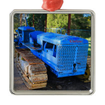 Old blue tractor and crawler metal ornament