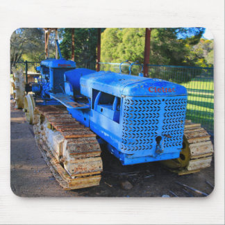 Old blue tractor and crawler mouse pad