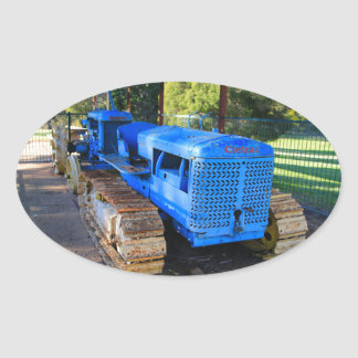 Old blue tractor and crawler oval sticker