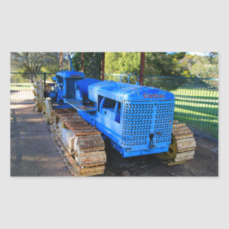 Old blue tractor and crawler rectangular sticker