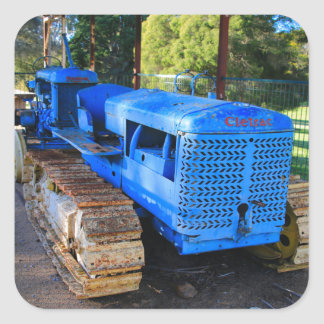 Old blue tractor and crawler square sticker