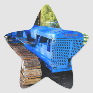 Old blue tractor and crawler star sticker