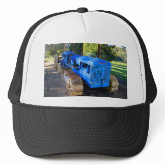 Old blue tractor and crawler trucker hat