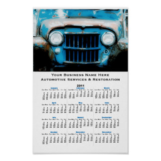 Old Blue  Vintage Car Grille Auto Wall Calendar Poster