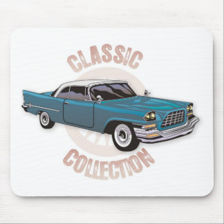 Old blue vintage car with white hardtop roof mouse pad
