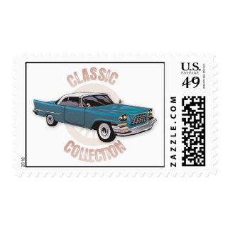 Old blue vintage car with white hardtop roof postage stamps
