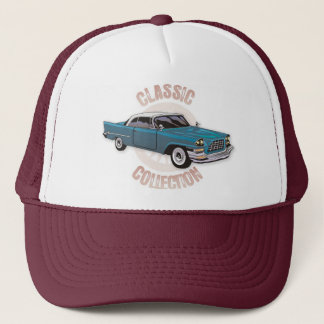 Old blue vintage car with white hardtop roof trucker hat