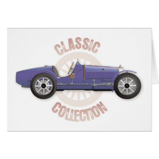 Old blue vintage racing car used on the track greeting card