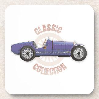 Old blue vintage racing car used on the track beverage coasters