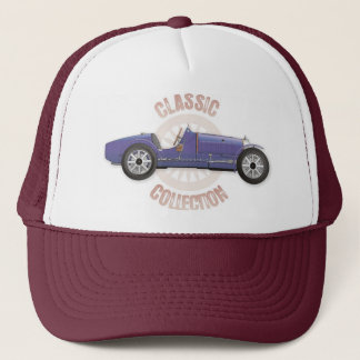 Old blue vintage racing car used on the track trucker hat