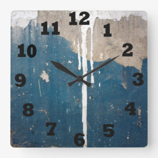 Old Blue With Drips of White Paint Square Wall Clock