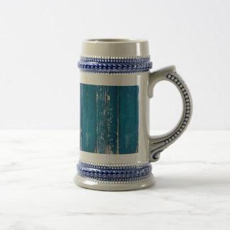 Old blue wood beer stein