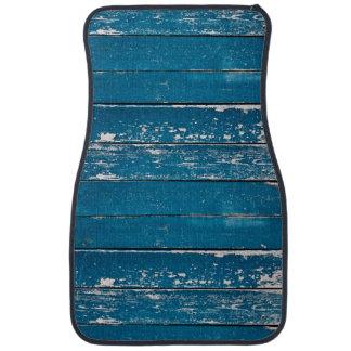 Old blue wood car floor mat