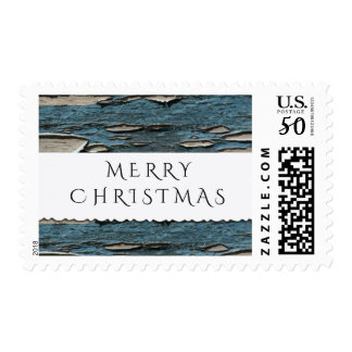 Old Blue Wood Merry Christmas Postage