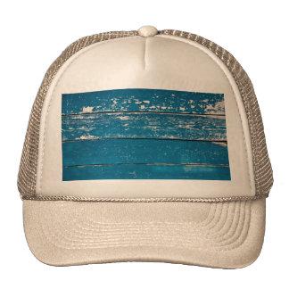 Old blue wood trucker hat