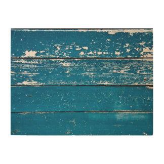 Old blue wood wood print