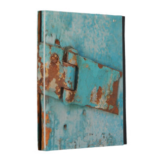 Old blue wooden door with rusted latch iPad folio case