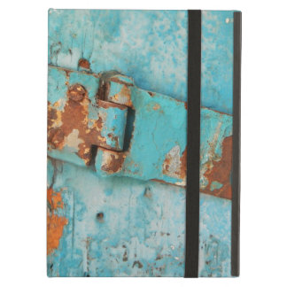 Old blue wooden door with rusted latch case for iPad air