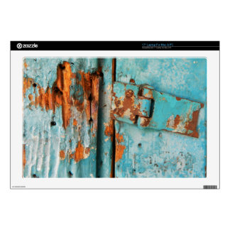 """Old blue wooden door with rusted latch 17"""" laptop decal"""