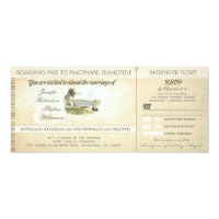 old boarding pass beach wedding invites with RSVP 4&quot; X 9.25&quot; Invitation Card (<em>$2.57</em>)