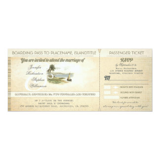 """old boarding pass beach wedding invites with RSVP 4"""" X 9.25"""" Invitation Card"""