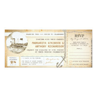old boarding pass cruise wedding invites with RSVP (<em>$2.57</em>)