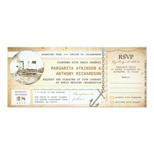 """old boarding pass cruise wedding invites with RSVP 4"""" X 9.25"""" Invitation Card"""