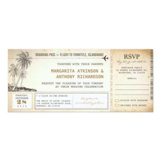 Plane Ticket Wedding Invitations: Old Boarding Pass Flight Wedding Invites With RSVP