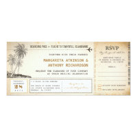 old boarding pass flight wedding invites with RSVP 4&quot; X 9.25&quot; Invitation Card (<em>$2.30</em>)