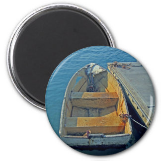 old boat at sea 2 inch round magnet