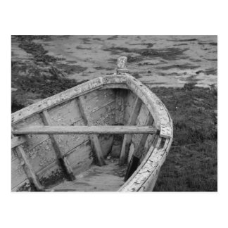 Old Boat in Black and White Postcard