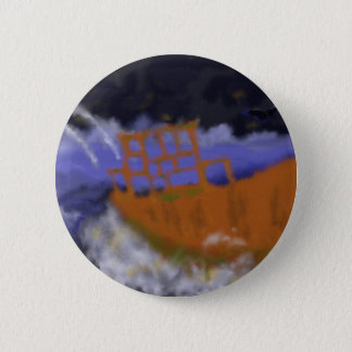 Old Boat in Storm Art Button