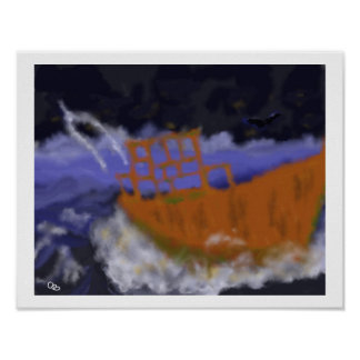 Old Boat in Storm Art Poster