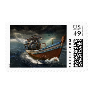 Old Boat in the Storm Ocean Stamp