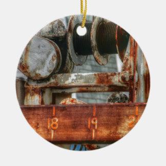 Old Boat Lift Ceramic Ornament