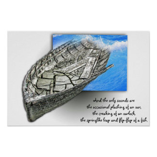 old boat memories in 3D with quote nautical poster