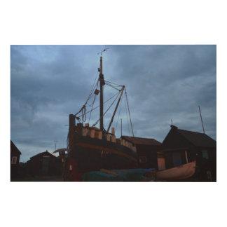 Old Boats Ashore At Southwold Wood Prints