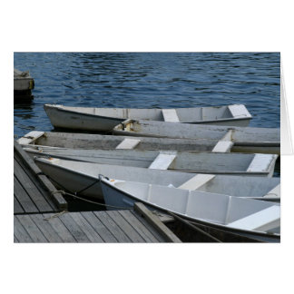 Old boats at the dock greeting cards